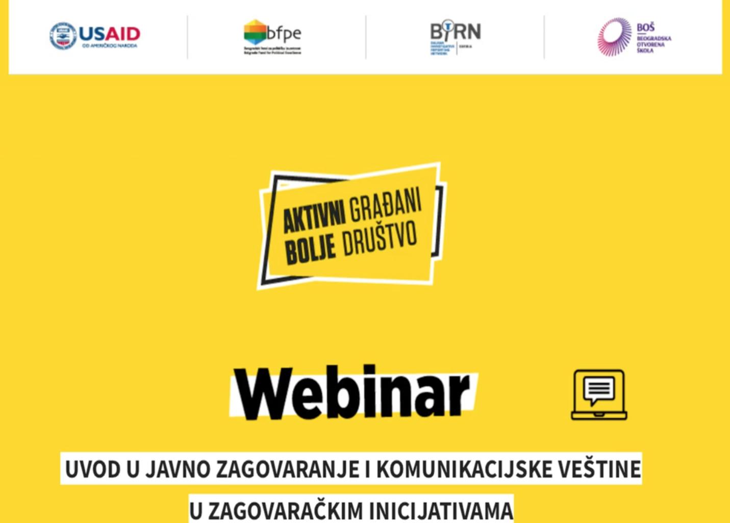Aktivni građani – bolje društvo: Onlajn treninzi o javnom zagovaranju